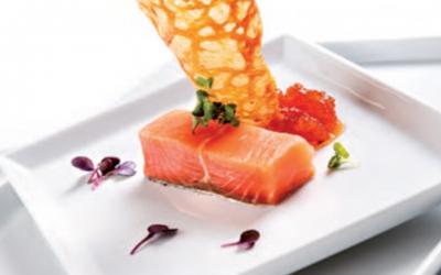 Trancio di salmone in crosta e frutti rossi